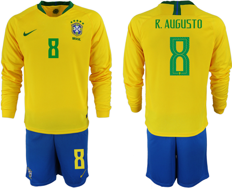 Brazil 8 R. AUGUSTO Home 2018 FIFA World Cup Long Sleeve Soccer Jersey
