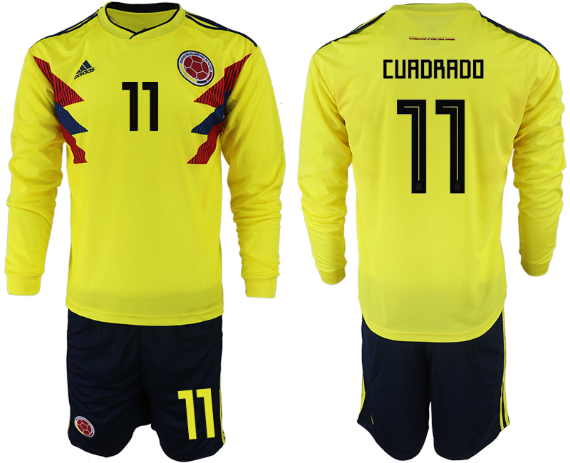 Colombia 11 CURDRADO Home 2018 FIFA World Cup Long Sleeve Soccer Jersey