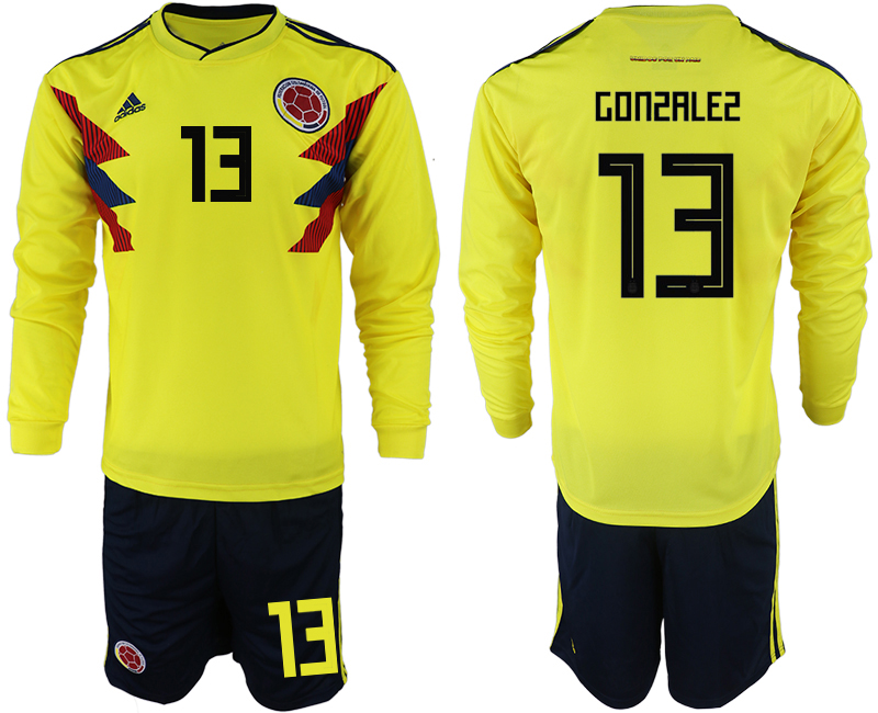 Colombia 13 GONZALEZ Home 2018 FIFA World Cup Long Sleeve Soccer Jersey