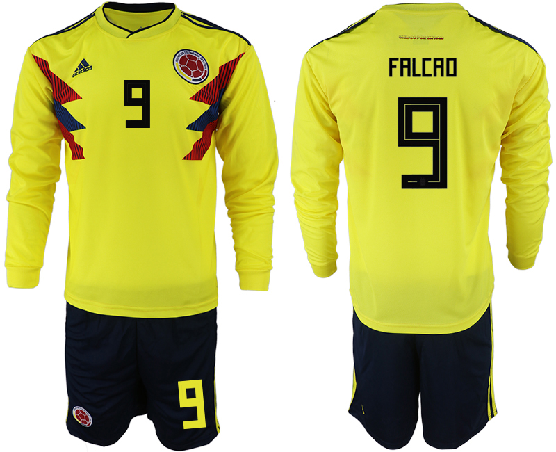 Colombia 9 FALCAO Home 2018 FIFA World Cup Long Sleeve Soccer Jersey