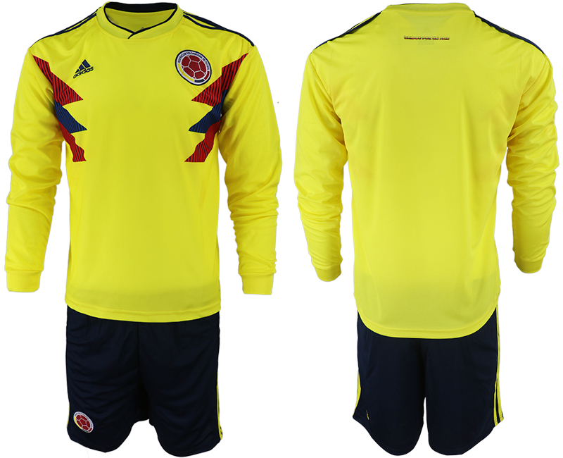 Colombia Home 2018 FIFA World Cup Long Sleeve Soccer Jersey