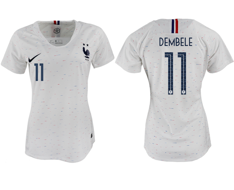 France 11 DEMBELE Away Women 2018 FIFA World Cup Soccer Jersey