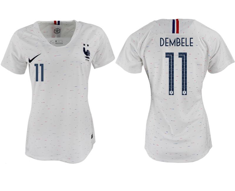 France 11 DEMBELE Away Women 2018 FIFA World Cup Soccer Jersey