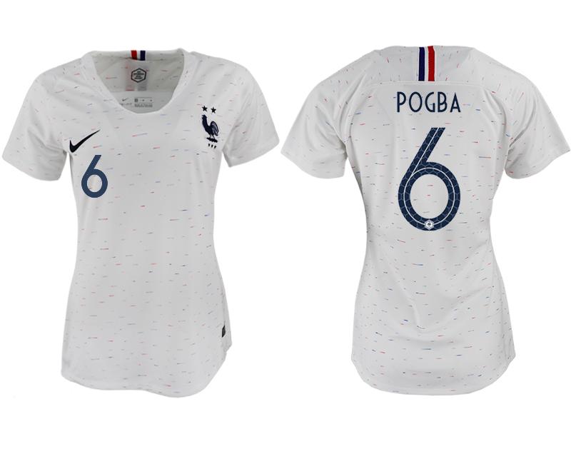 France 6 POGBA Away Women 2018 FIFA World Cup Soccer Jersey