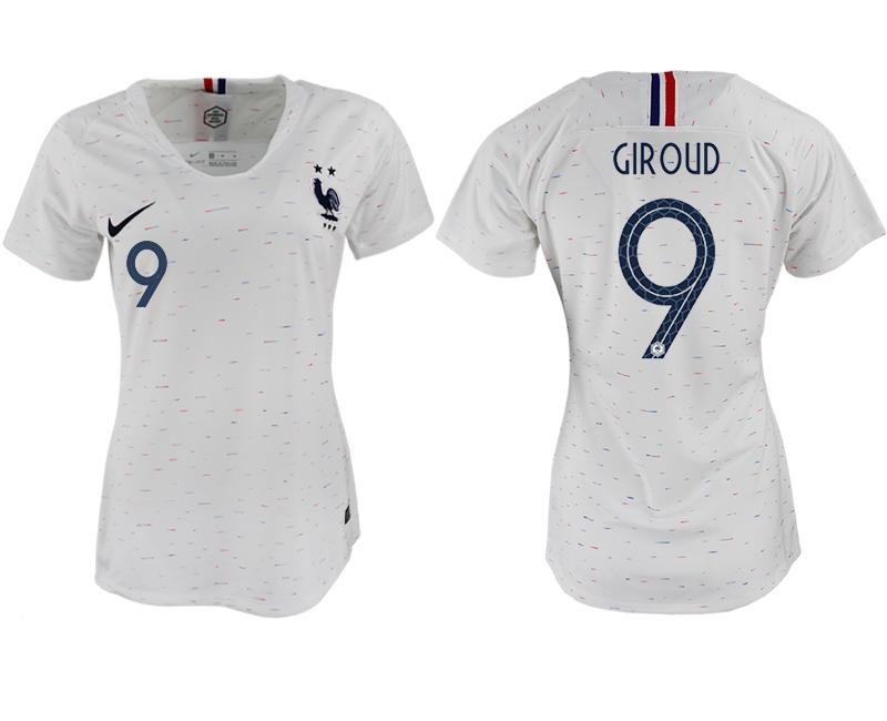 France 9 GIROUD Away Women 2018 FIFA World Cup Soccer Jersey