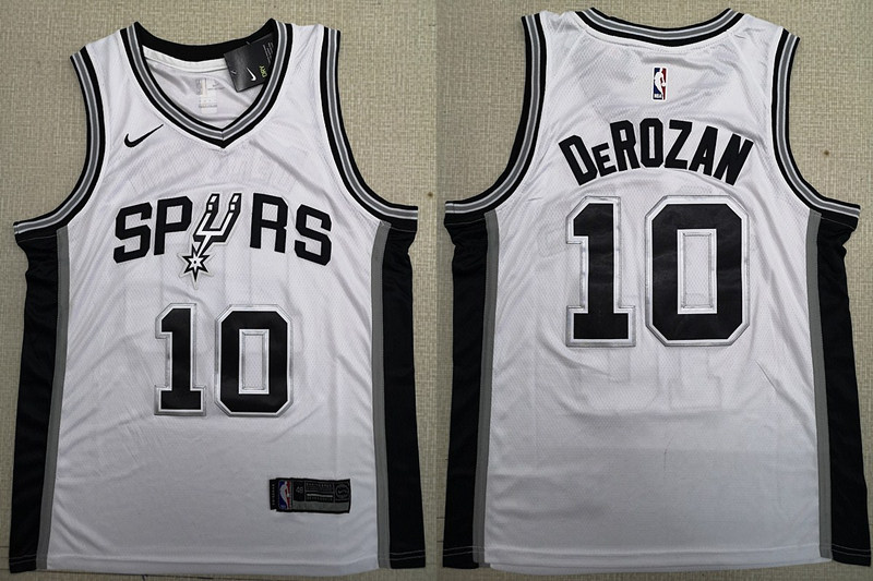 Spurs 10 DeMar DeRozan White 2018-19 Nike Swingman Jersey
