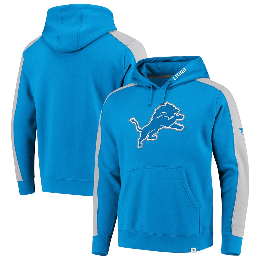 Detroit Lions NFL Pro Line by Fanatics Branded Iconic Pullover Hoodie Blue Heathered