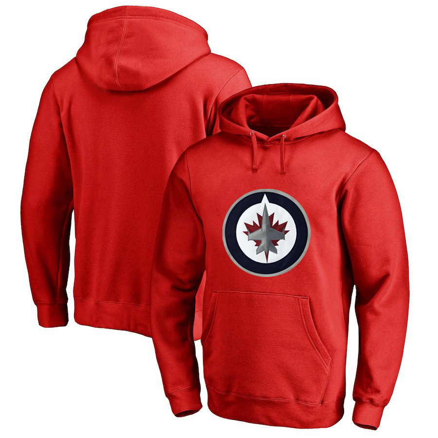 Winnipeg Jets Red Men's Customized All Stitched Pullover Hoodie