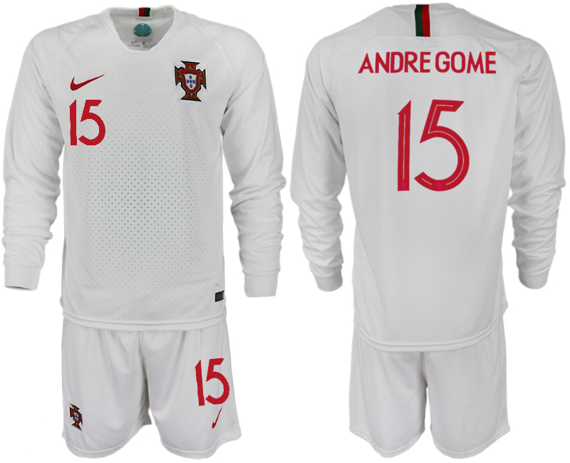 Portugal 15 ANDRE GOME Away 2018 FIFA World Cup Long Sleeve Soccer Jersey