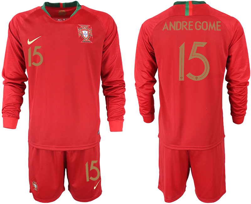 Portugal 15 ANDRE GOME Home 2018 FIFA World Cup Long Sleeve Soccer Jersey