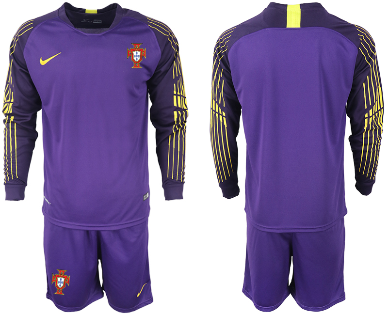 Portugal 2018 FIFA World Cup Violet Goalkeeper Long Sleeve Soccer Jersey