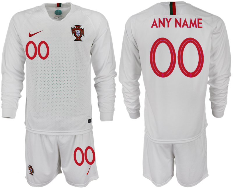 Portugal Away Customized Long sleeve Soccer Jersey