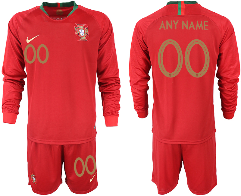 Portugal Home Customized Long sleeve Soccer Jersey