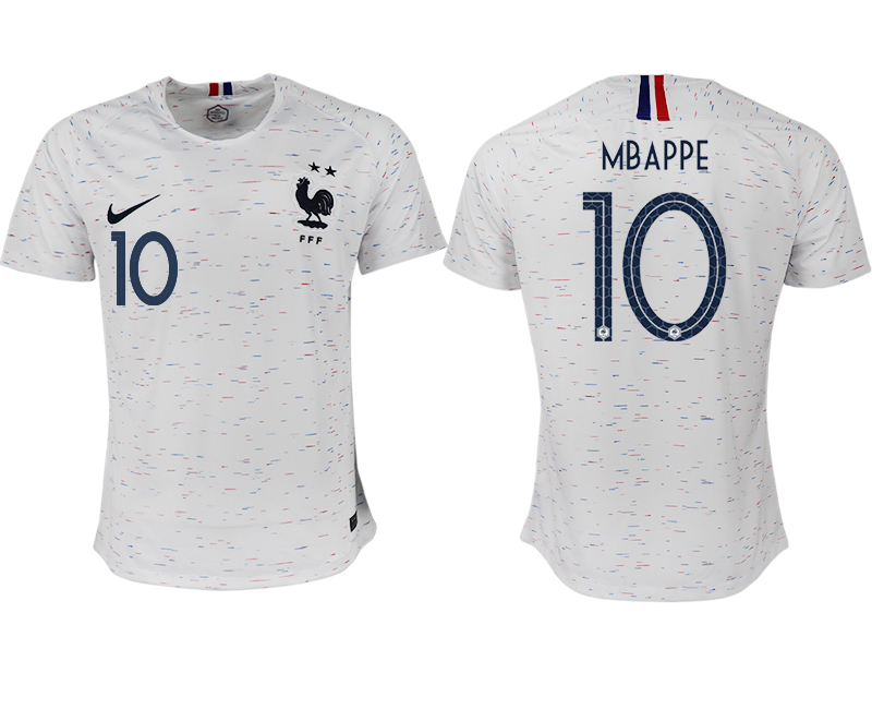 France 10 MBAPPE Away 2018 FIFA World Cup Thailand Soccer Jersey