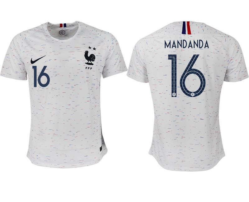 France 16 MANDANDA Away 2018 FIFA World Cup Thailand Soccer Jersey