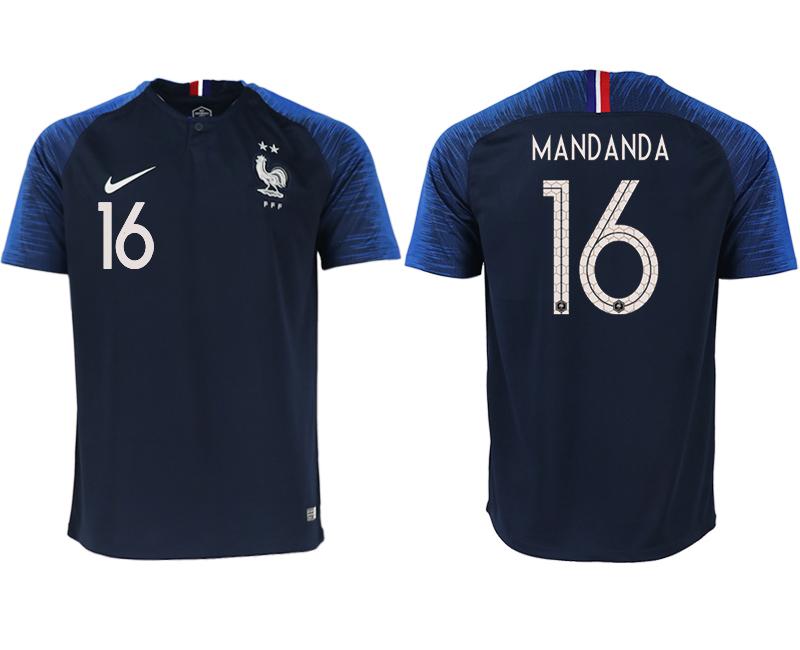 France 16 MANDANDA Home 2018 FIFA World Cup Thailand Soccer Jersey