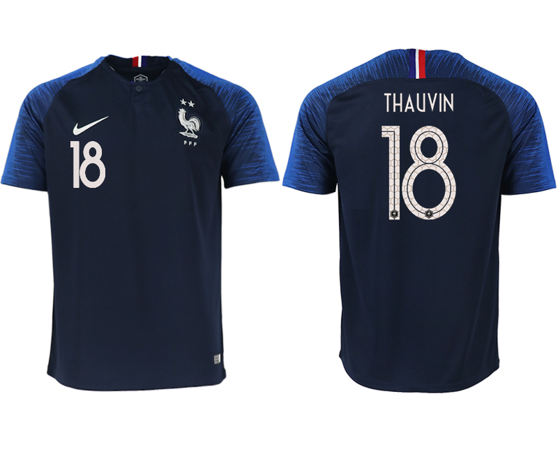 France 18 THAUVIN Home 2018 FIFA World Cup Thailand Soccer Jersey