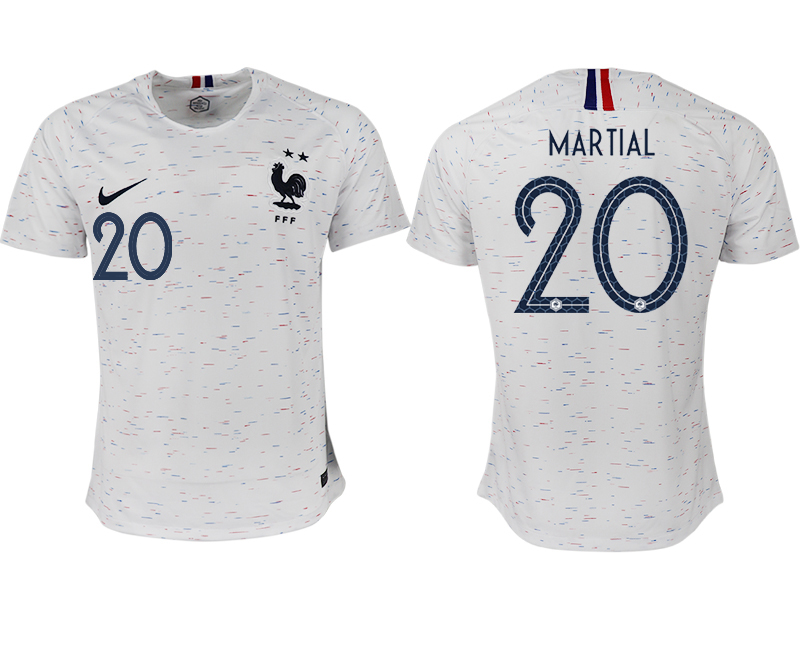 France 20 MARTIAL Away 2018 FIFA World Cup Thailand Soccer Jersey
