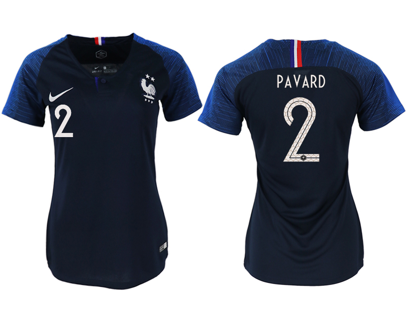 France 2 PAVARD Home Women 2018 FIFA World Cup Soccer Jersey