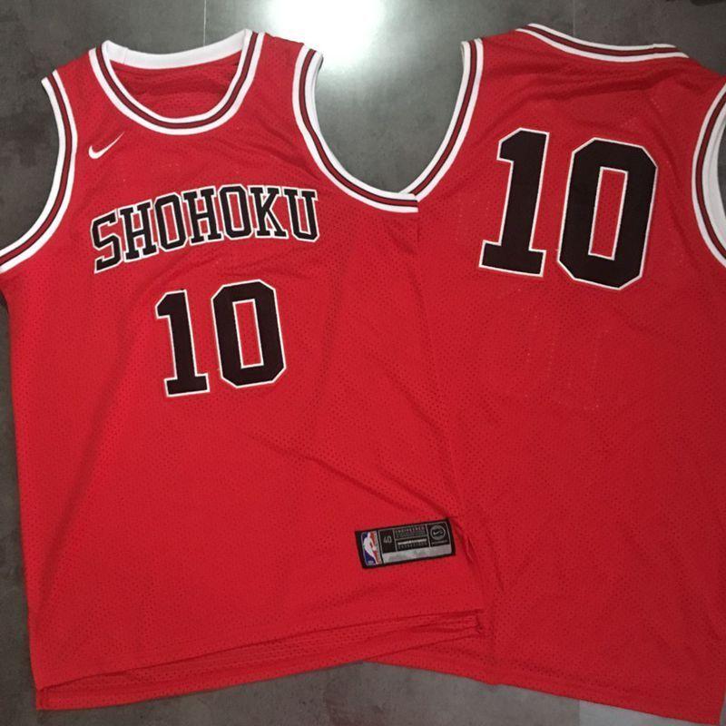 Slam Dunk Shohoku Away 10 Sakuragi Hanamichi Red Stitched Basketball Jersey