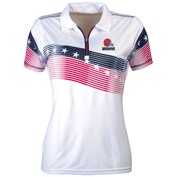 Women's Antigua Cleveland Browns White Patriot Polo