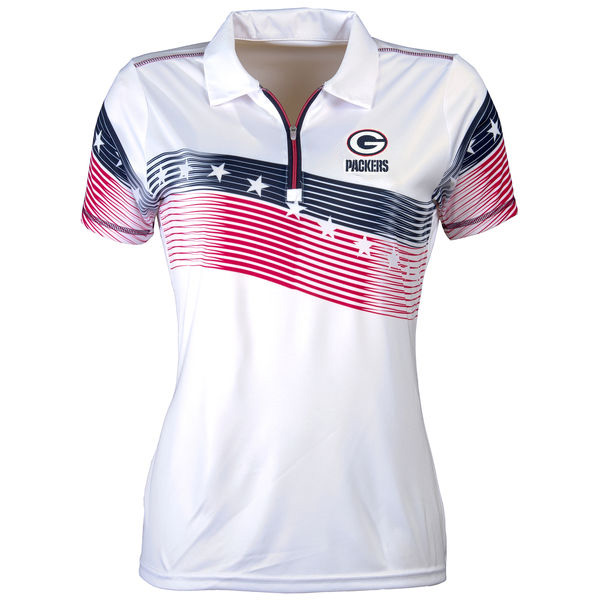 Women's Antigua Green Bay Packers White Patriot Polo