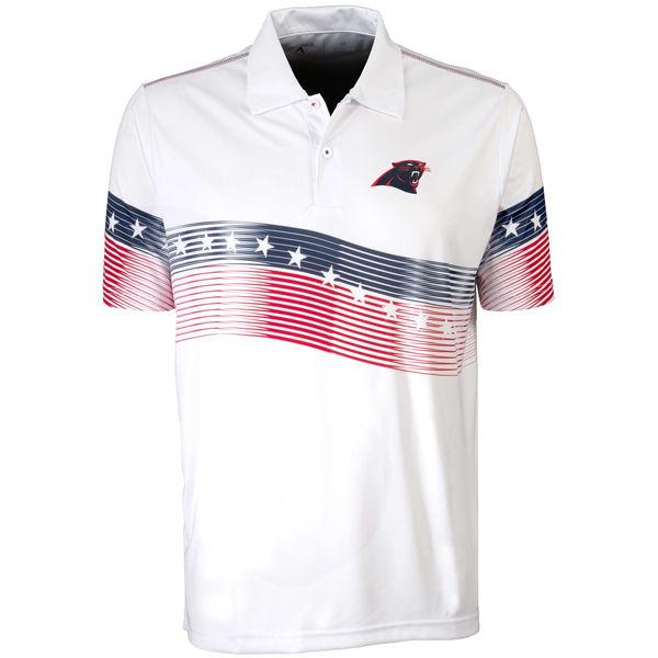 Antigua Carolina Panthers White Patriot Polo Shirt