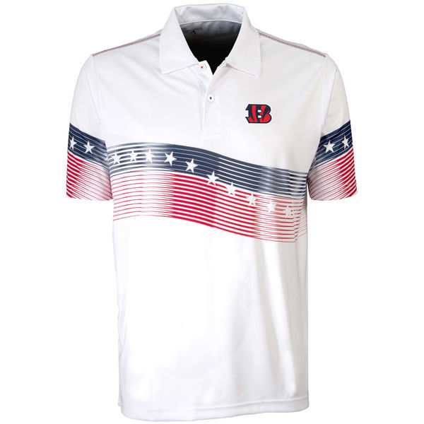 Antigua Cincinnati Bengals White Patriot Polo Shirt