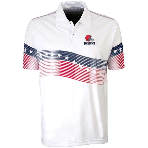 Antigua Cleveland Browns White Patriot Polo Shirt