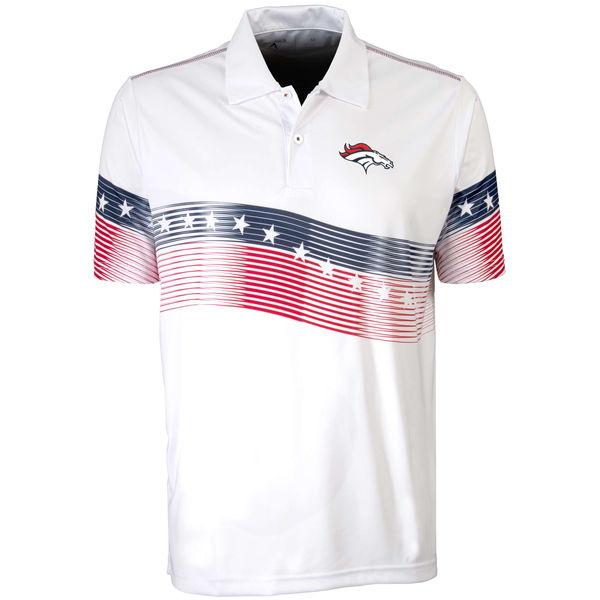 Antigua Denver Broncos White Patriot Polo Shirt