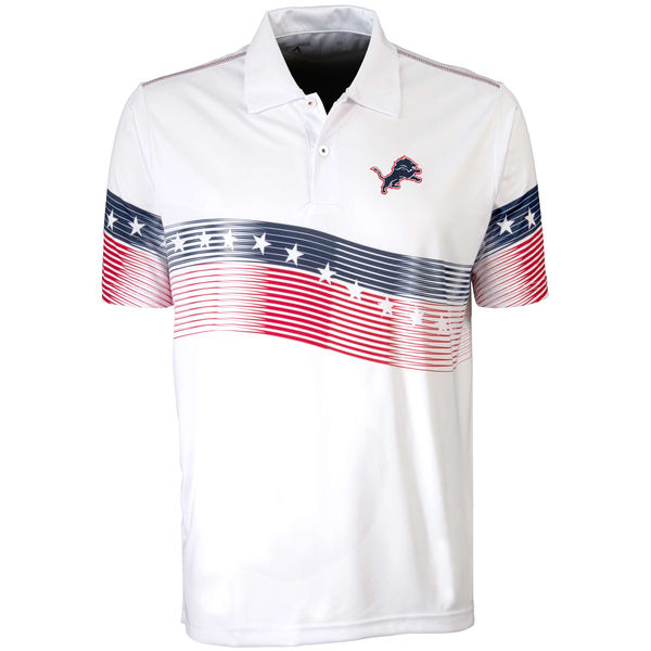 Antigua Detroit Lions White Patriot Polo Shirt