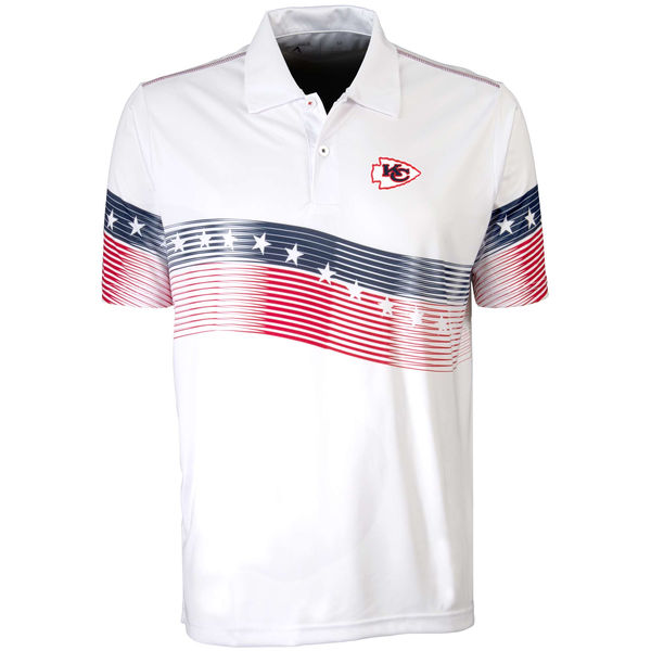 Antigua Kansas City Chiefs White Patriot Polo Shirt