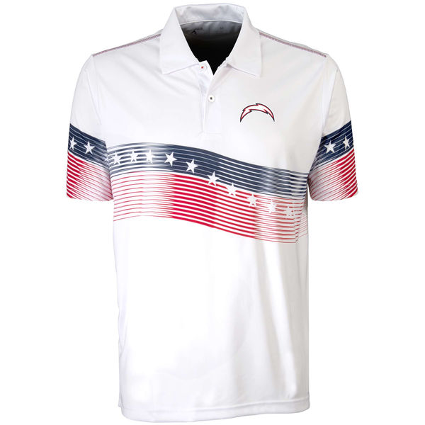 Antigua Los Angeles Chargers White Patriot Polo Shirt