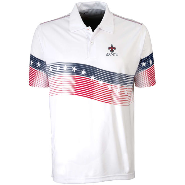 Antigua New Orleans Saints White Patriot Polo Shirt