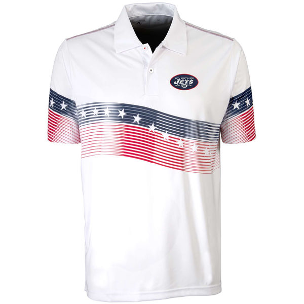 Antigua New York Jets White Patriot Polo Shirt