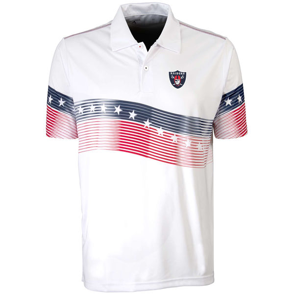 Antigua Oakland Raiders White Patriot Polo Shirt