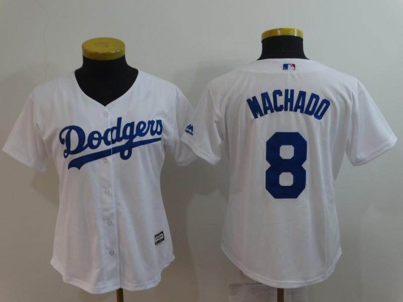 Dodgers 8 Manny Machado White Women Cool Base Jersey