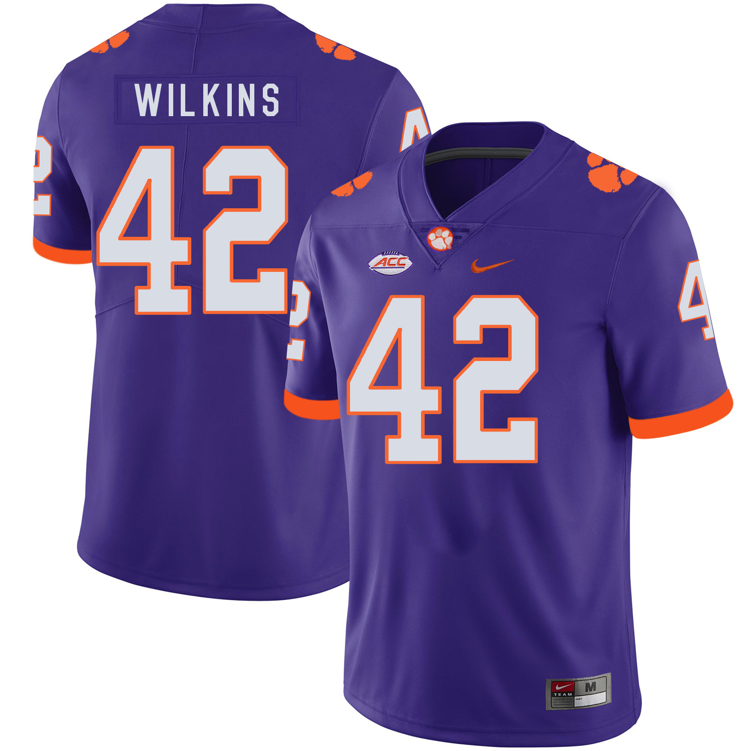 Clemson Tigers 42 Christian Wilkins Purple Nike College Football Jersey