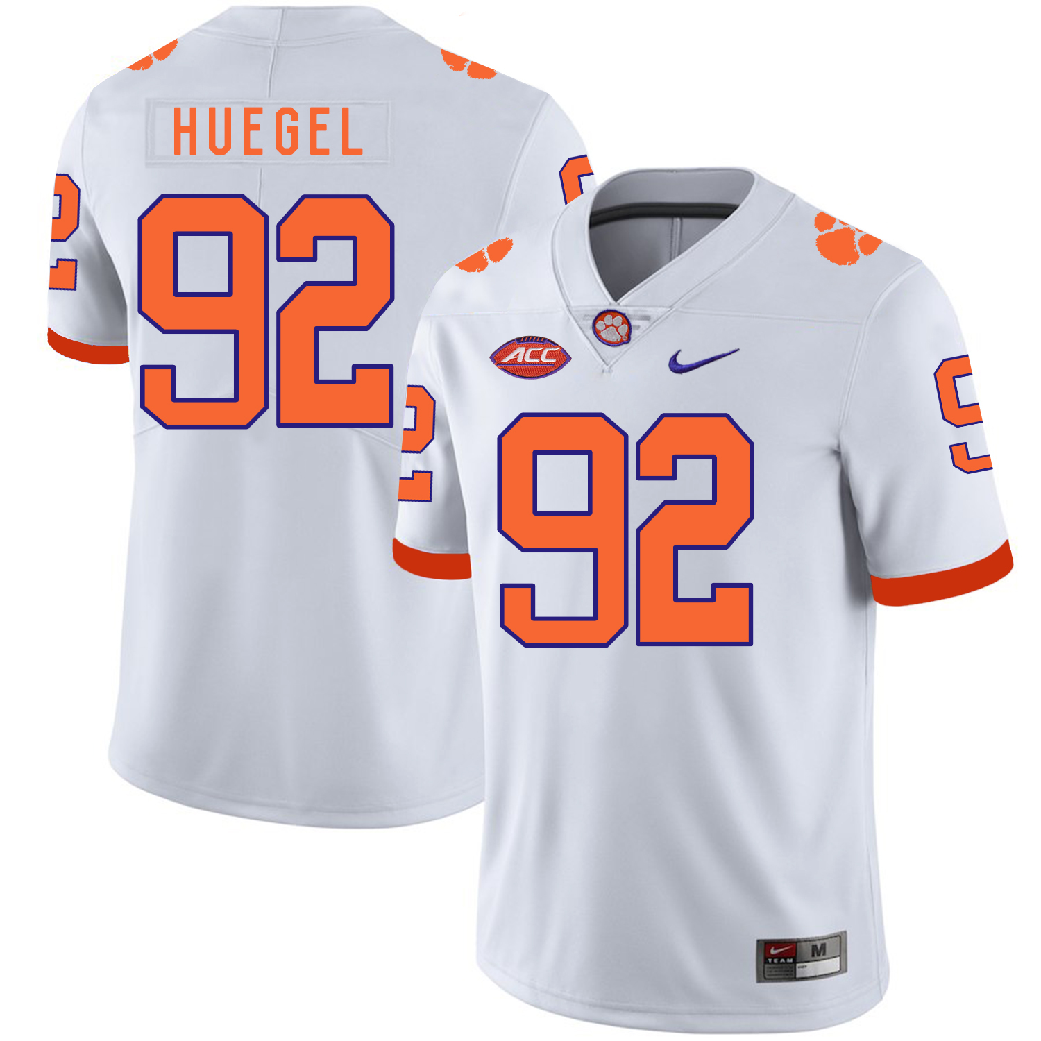 Clemson Tigers 92 Greg Huegel White Nike College Football Jersey