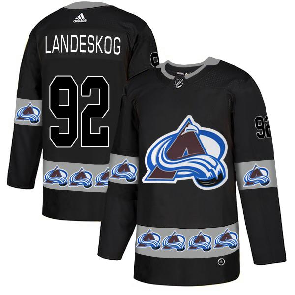 Avalanche 92 Gabriel Landeskog Black Team Logos Fashion Adidas Jersey