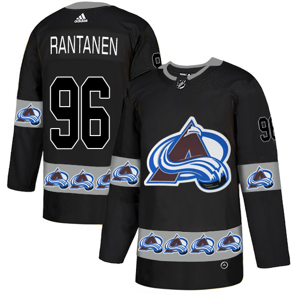 Avalanche 96 Mikko Rantanen Black Team Logos Fashion Adidas Jersey
