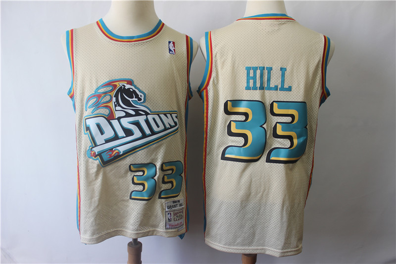Pistons 33 Grant Hill Cream Hardwood Classics Jersey