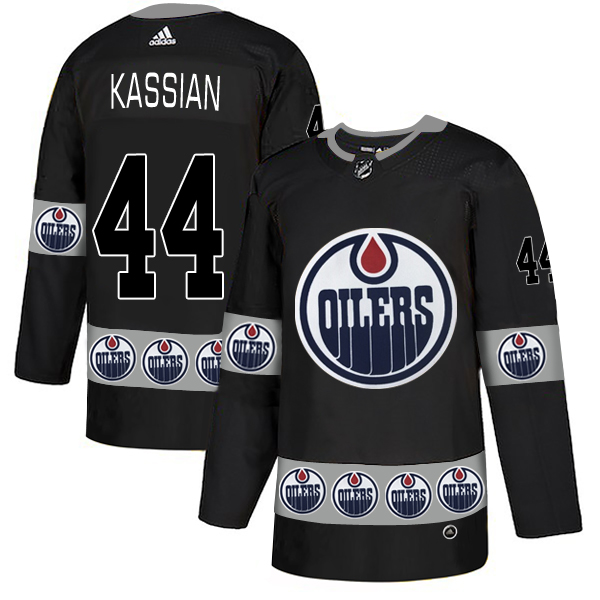 Oilers 44 Zack Kassian Black Team Logos Fashion Adidas Jersey