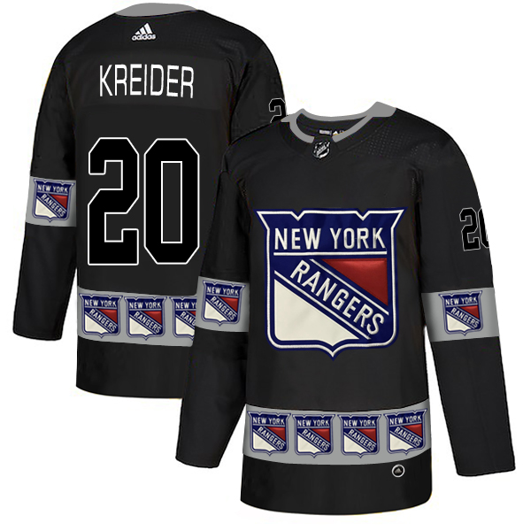 Rangers 20 Chris Kreider Black Team Logos Fashion Adidas Jersey