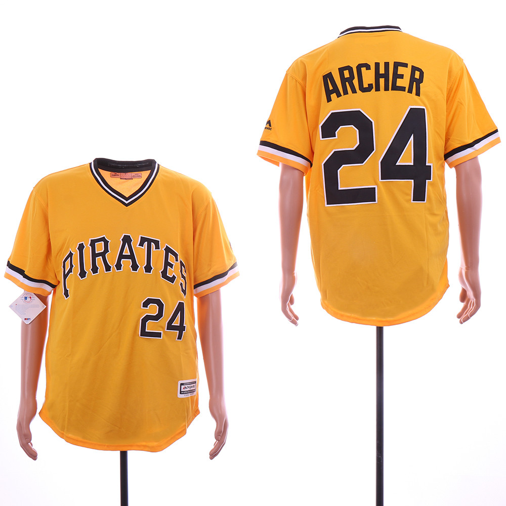 Pirates 24 Chris Archer Yellow Throwback Flexbase Jersey