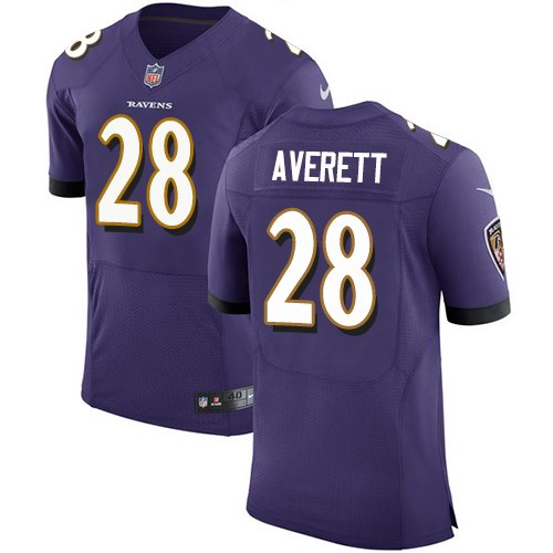 Nike Ravens 28 Anthony Averett Purple Elite Jersey