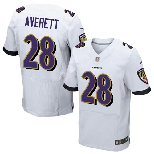 Nike Ravens 28 Anthony Averett White Elite Jersey
