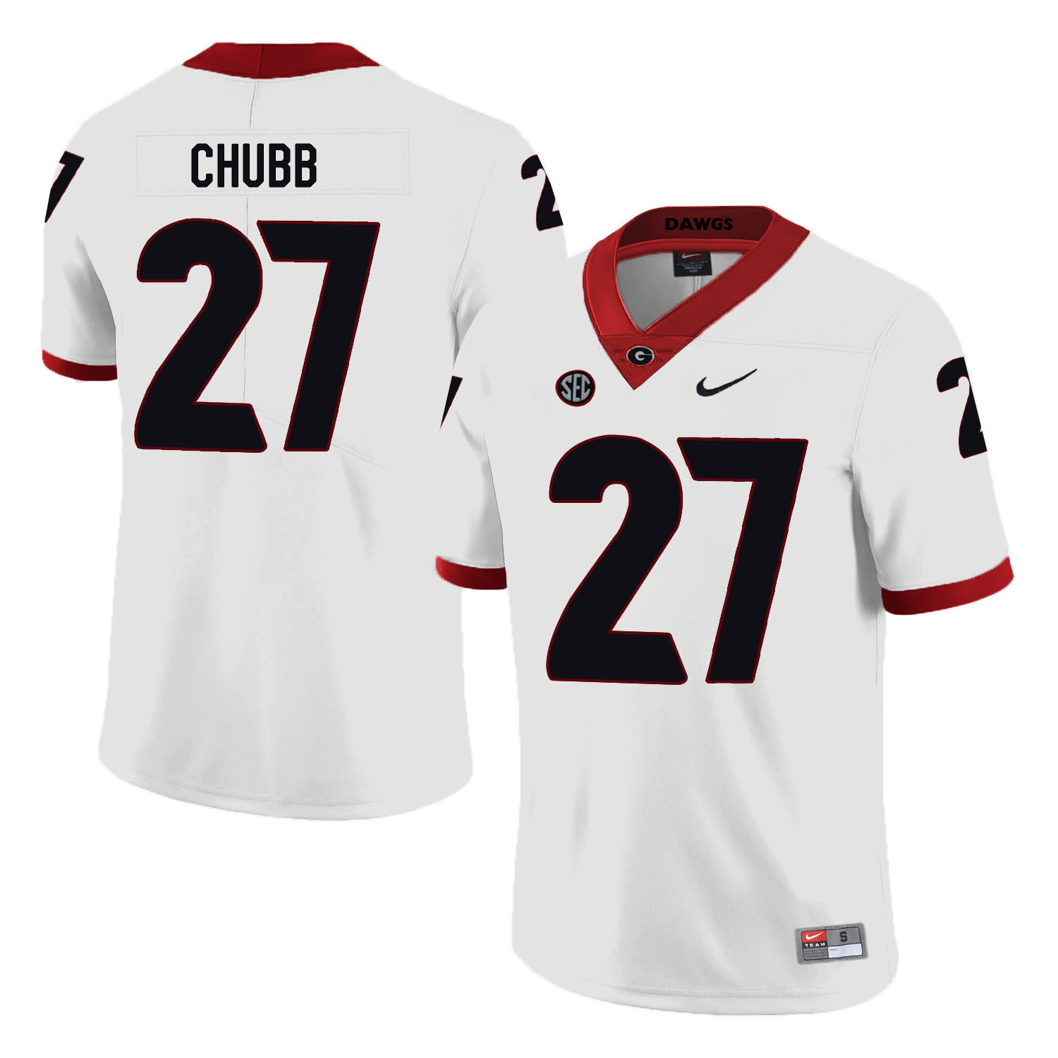 Georgia Bulldogs 27 Nick Chubb White Nike College Football Jersey