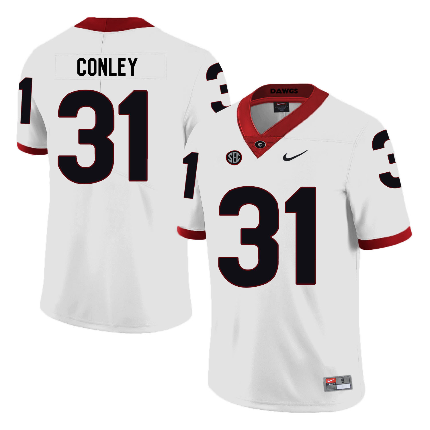 Georgia Bulldogs 31 Chris Conley White Nike College Football Jersey