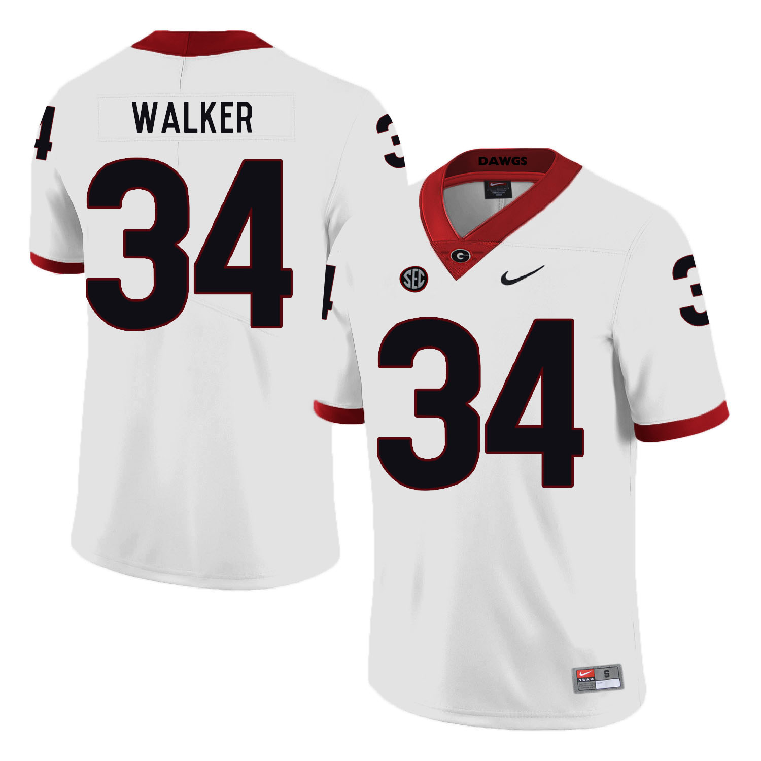 Georgia Bulldogs 34 Herchel Walker White Nike College Football Jersey